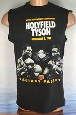 Vtg 1991 World Heavyweight Championship HOLYFIELD TYSON L T Shirt Cutoff USA