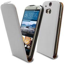 Caseink – Coque Etui Pour HTC One M8 Rabat Premium [ Flip Vertical ] Blanc