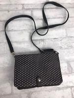 Thirty One Convertible Crossbody Shoulder Bag Clutch Gray Fabric Polka Dots