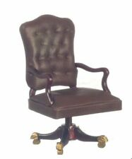 DOLLHOUSE MINIATURE PLATINUM COLLECTION MAHOGANY GOVERNORS DESK CHAIR #P3468