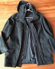 COLE HAAN Men's Olive Green Leather Trim Hooded Outerwear Jacket Coat Size L