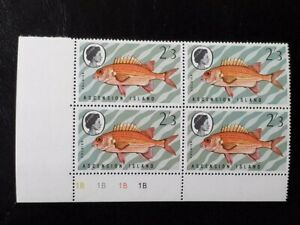 ASCENSION SG 129w MNH Plate Block 1B 1970 Fishes 3rd Series CROWN RIGHT OF CA