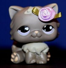 Littlest Pet Shop Grey Persian Cat hard to find #263 purple eyes EUC