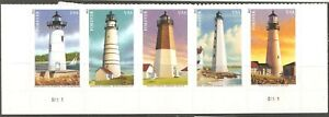United Sates: fulll set of 5 mint stamps, lighthouses, 2013, Mi#4978-82, MNH
