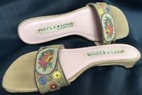 Wm REFLEXION BY ANDRE ASSOUS Cream Silk/Leather Sandal Slide Crossstitch Sz 7.5M