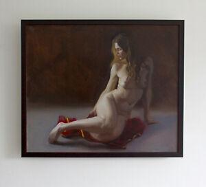 Original Framed Oil Painting Female Girl blonde woman nude Realist artwork art