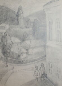 VINTAGE PENCIL DRAWING CITYSCAPE EXPRESSIONISM