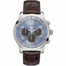 New Guess Mens W0380G6 Genuine Leather Strap Blue Dial Watch - UK Seller
