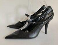 """Nine West Black Leather Mary Jane Pointed Toe 4"""" Stiletto Shoes UK 6.5 EU 39.5"""