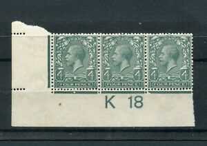 1912-22 4d  grey green control K18 (I) strip of 3 um/MNH. SG 379.