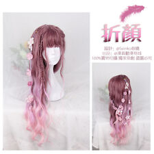 Wig Cosplay Harajuku Gothic Lolita Red Pink Cute Mixed Gradient Princess Curls#