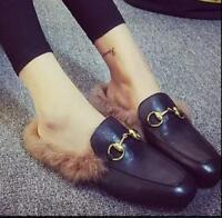 Women Rabbit Fur Part Leather Slip On Loafer Shoes Flat Casual Sandals Slippers