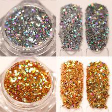 Gold Silver Laser Holographic Nail Glitter Powder Paillette Dust Pigments