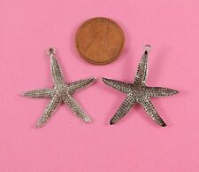 Star Fish - 2 Pc(s) Vint Design Ant Silver Lg Textured