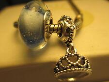 2 Authentic Pandora Silver 925 Disney Cinderella Blue Tiara Princess Bead Charm