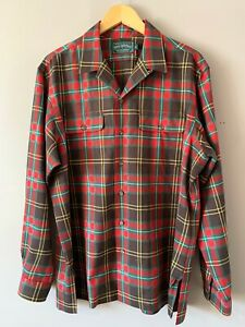 Polo Country Camp Collar Wool Plaid Shirt Large Button Up