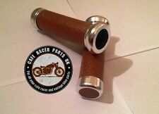 """Cafe Racer Motorcycle Brown Leather Look 7/8"""" Handlebar Grips With Chrome Ends"""