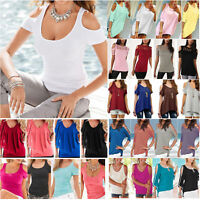 Plus Size Women Solid Cold Shoulder Loose Tee Shirts Ladies Beach Casual Blouse