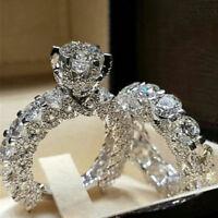 Elegant Women Zircon Ring Jewelry Silver Color Engagement Wedding Ring Set NEW