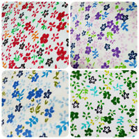 "ABRIETA FLOWER GARDEN PRINT WHITE POLY COTTON FABRIC 60"" BY THE YARD 4 COLORS"