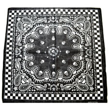 TRIXES Black Bandana Double-sided Skull Design-Chequered Boarder--Cold Weather