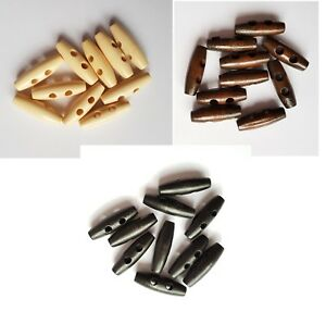 Wooden Toggle Button 10 x 35 mm Duffle Coat Sewing Knitting Craft 3 colours