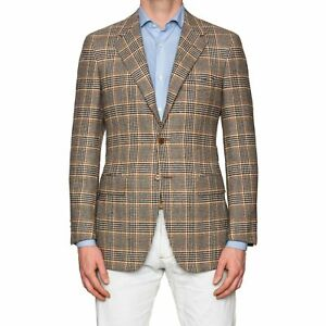 Sartoria PARTENOPEA Hand Made Brown POW Wool Cashmere Flannel Jacket NEW