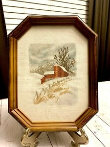 Beautiful Vintage Hand Embroidered Rustic Red Barn in Snow Framed Picture Print