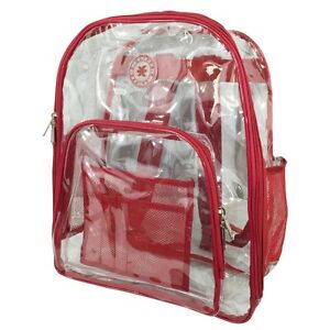 Clear Plastic See Through Security Transparent Backpack Bag, Black Red Purple