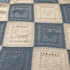 Light Blue And White Heart Motif Baby Shawl