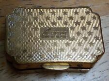 Vintage Stratton Gold Coloured Hinged Pill Box With Stars Pattern
