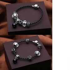 Women's Bead Pendant Leather European Fit 925 Silver Charm Bracelet Jewellery