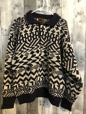 BOSTON TRADERS  Collar Wool Sweater Large Multicolored Geometric Pattern Aztec