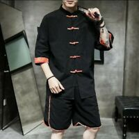 Retro Men Summer Suit Chinese Style Single Breasted Solid Blouses Shorts 2Pcs z2