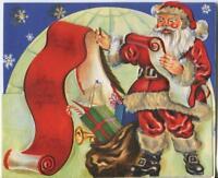 VINTAGE CHRISTMAS SANTA CLAUS LIST SNOWFLAKES ICE SNOW IGLOO TOYS GREETING CARD