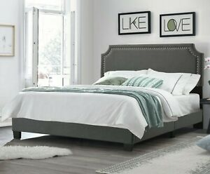 Hillsdale Willow Nailhead Trim Upholstered Bed - Fog, Full Size (2583460L)