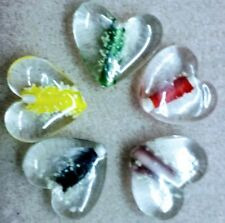 Bead Oddments - 5 Large Glass Heart Pendant Beads - Glow-in-the-Dark FUN Colours