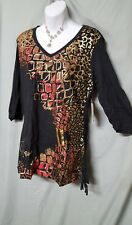"""APPLE BOTTOM LONG SLEEVE BLACK WITH RED/GOLD SHIRT SIZE 1X WOMEN  GIFT 50"""" BUST"""