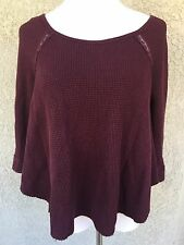 FREE PEOPLE ANTHROPOLOGIE XS Blouse Top High Low Wine 3/4 Sleeve Thermal
