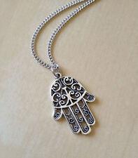 Hamsa Hand Silver Tone Necklace Charm NEW Inspired Protection Spiritual Boho