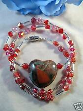Artisan Gemstone Heart Crystal Bead Necklace CAT RESCUE