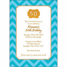 25 Personalized 50th Birthday Party Invitations  - BP-042 Gold  and Blue Chevron