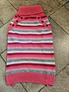 Bond & Co. Striped Turtleneck Dog Sweater, Pink, White, Gray, Size Large