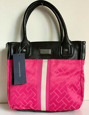 NEW! TOMMY HILFIGER PINK BROWN SMALL SHOPPER SATCHEL TOTE HANDBAG PURSE $65 SALE