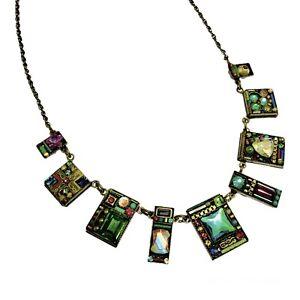 Firefly Swarovski Geometric Mosaic Necklace Colorful Inlaid Crystal Brass Artist