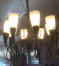 Chateau Rubbed Bronze 8 Light Chandelier with Turinian Scavo Glass CT-8222