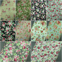100% Cotton Linen Fabric, Floral, Flowers, Roses Material, Vintage-Medium Weight
