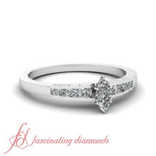 Rescinding Grid Engagement Ring Channel Set 1/2 Ct Marquise Cut Diamond SI1 GIA
