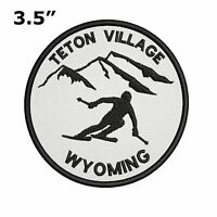 "Teton Village, Wyoming Extreme Skier 3.5"" Embroidered Iron or Sew-on Patch"