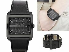 new + box men's ARMANI EXCHANGE AX2205 Black Leather Rectangle Face A/X WATCH
